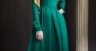 صورة اجمل الفساتين الطويلة للمحجبات , فستان محجبه يلفت النظر