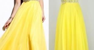صورة فساتين سهرة صفراء , اللون الاصفر هذه السنة مكتسح الموضة واووو