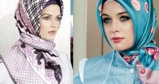 صورة الحجاب التركي , ربطة حجاب استايل تركي للوجه المدور والطويل