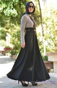 ملابس تركية للمحجبات , اطلالة شيك جدا بملابس جديدة